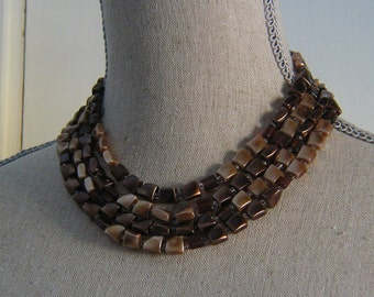 Vintage Four Strand Brown Beaded 1950s Necklace