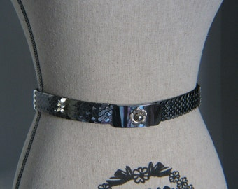 Vintage Silver Tone Scale Stretch Belt