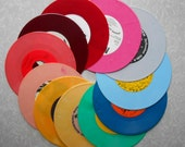 """Rainbow colored records 7"""" for projects choose 5 pinks, blues, greens, lilac, lavender Custom Wedding table numbers or party display"""