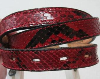 Vintage Snakeskin Belt, Red and Black Snakeskin Belt, Silver Buckle, Nocona Belt, Skinny Belt, Size 32 Belt, Red Leather Belt, Narrow Belt