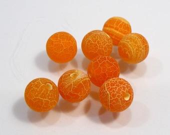 Matte Orange Fire Agate Smooth Round Gemstone Beads...8 Beads....8mm