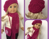 Doll Clothes Made To Fit American Girl 3 Pc Slouchy Hat, Scarf, Shoulder Bag, Pretty Fuschia