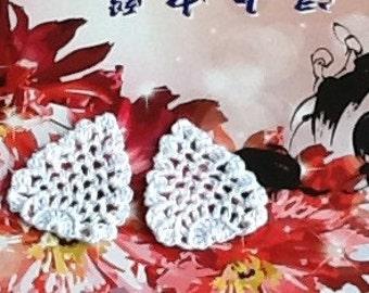 Crochet Lace Motif Doilies Flower Appliques 124.07 - Small Tree 2 - White Color - 2 pcs