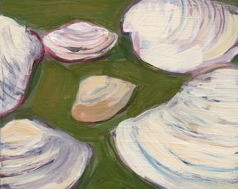 Seashells II (Crane Beach) - original art, original painting, small painting, affordable art, fine art by Irene Stapleford - wantknot shop