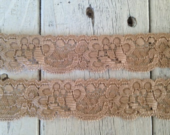 Stretch Lace-CARAMEL BROWN no. 9-1 1/4 inch -5, 10, or 20 yards