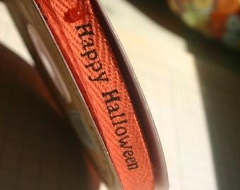 "Orange Halloween Twill Trim - Happy Halloween Printed Twill Tape - 3/8"" Wide - 37 Yards - Last of Spool - DESTASH SALE"