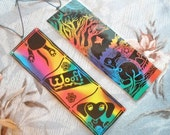 Rainbow Dachshund Woof  And Tree Bookmarks Set Of 2 Original Scratch Art Laminated