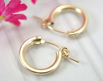 "12mm tiny hoop earrings 14k gold filled half inch "" hollow tube hoop earrings small hoops second piercings light easy fasten lever closure"