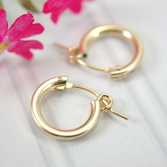 small hoop earrings for second 13mm tiny hoop earrings 14k gold filled half inch quot hollow 2228