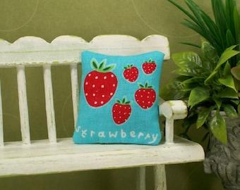 Strawberry Pillow Red Sky Blue Strawberries 1:12 Dollhouse Miniatures Artisan