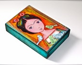 Frida with Birds - Aceo Giclee print mounted on Wood (2.5 x 3.5 inches) Folk Art  by FLOR LARIOS