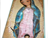 Our Lady of Guadalupe with Angel -  Giclee print mounted on Wood (5 x 10 inches) Folk Art  by FLOR LARIOS