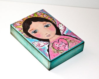 Love Me - Angel - Aceo Giclee print mounted on Wood (2.5 x 3.5 inches) Folk Art  by FLOR LARIOS