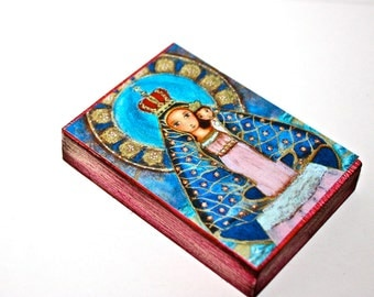 Our Lady of El Cobre -  Giclee print mounted on Wood (6 x 8 inches) Folk Art  by FLOR LARIOS