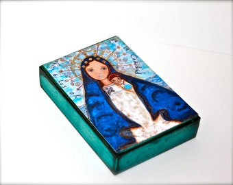 Our Lady of Charity - Caridad del Cobre -  Giclee print mounted on Wood (6 x 8 inches) Folk Art  by FLOR LARIOS