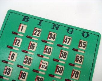 Vintage Bingo cards - stitched cards with sliding windows - set of 6
