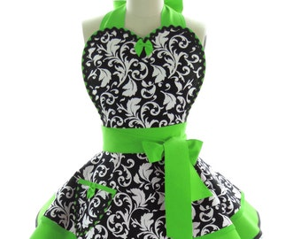 Retro Apron - Sour Apple Parisian Sexy Womans Aprons - Vintage Apron Style - Damask Pin up Rockabilly Cosplay Costume