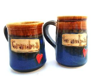 Handmade Pottery Mugs  Grandma and Grandpa Mug   Set    Jewel Pottery    blue