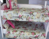 "8 Piece Paris American girl Bunkbed set 2 Bedspreads Pillows  18"" doll"