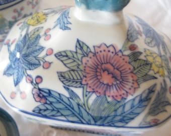 Vintage Chinese Soup Tureen Ginger Jar Rice Bowl With Lid Floral With Blue And White From Estate