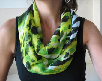 Green and Black Animal print Chiffon Infinity Scarf
