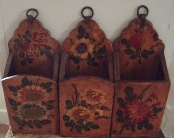 Vintage Asian Hand Painted Wood Boxes