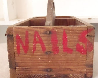 Antique Primitive Wooden Divided Nail Caddy Tool Box