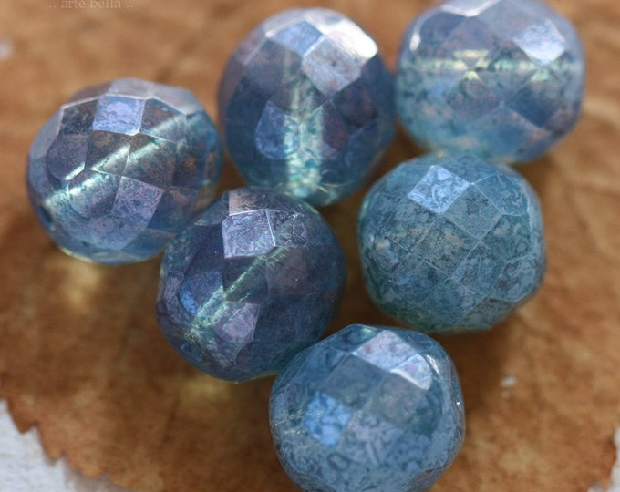 BLUE CASHMERE .. 6 Picasso Czech Opal Glass Beads 12mm (2901-6)