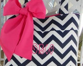 Personalized Navy Blue Chevron Tote Bag, Every Day Bag, Diaper Bag, Brides Personalizad Tote with Hot Pink Sash Bow