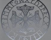 Viking protection runes talisman silver vinyl decal