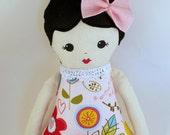 Handmade Cloth rag doll black hair with large pink bow