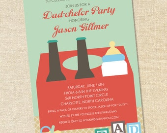 """Sweet Wishes Beer & Diapers """"Dad-chelor"""" Shower Invitations - PRINTED - Digital File Also Available"""