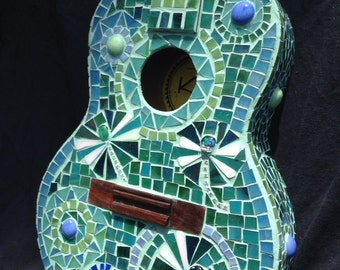 Repurposed upcycled mosaic dragonfly ukulele