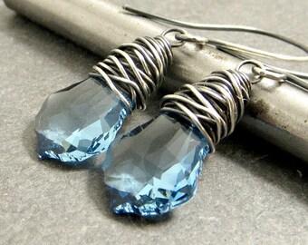 Blue Crystal Earrings, Wire Wrap Earrings, Sterling Silver Earrings, Aqua Marine Blue, Gifts for Her