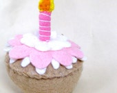 Felt Play Food Toy Cupcake with Candle and White Pink and White Frosting