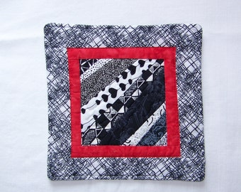 Scrappy Modern Black White and Red Mug Rug Coaster or Mini Quilt #2