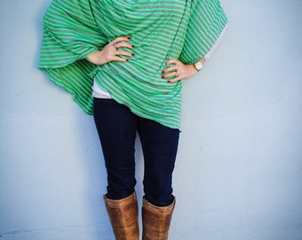 Nursing Cover/ Modern Nursing Poncho for Full Coverage and Privacy While Breastfeeding your Modern Baby in Neon Green and Gray