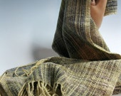 Handwoven Silk and Wool Scarf: Ancient Forest