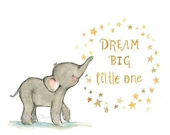 Children's Art --- DREAM BIG -- Archival Print