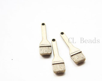 20pcs Antique Brass Tone Base Metal Charms-Paint Brush 25x7mm (30030Y-O-281)