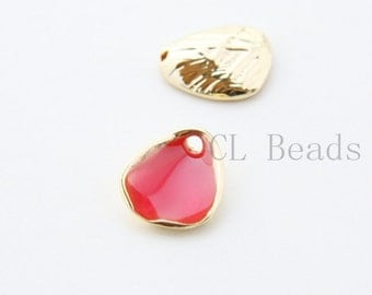 4pcs Red Enameled Gold Plated Base Metal Cones-Lily Cap-Flower cap 14.5x11.8mm (1809C-T-138)W