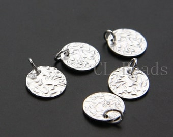 2pcs of  Sterling Silver Hammered Round Pendant - Disc 11x14mm (11mm Round Size)