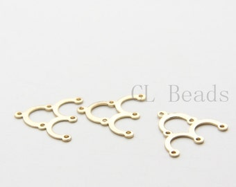 6pcs Shiny 16K Gold Plated Brass Base Findings - 1 to 3 Components - 17x15mm (1736C-U-22)