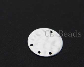 4pcs Matte Silver Plated Hammered Round Disc with Multiple Holes - 18mm (1720C-U-7)
