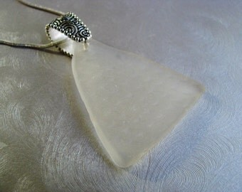 Sea Glass Design Necklace - Patterned Beach Glass Necklace - Pure White Seaglass - Statement Necklace