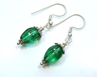Emerald Green and silver dangle earrings, Green and silver earrings