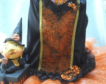 TUNIC Halloween Tank Flapper Style Whimsy - Vintage Cami Make Over - Black and Orange
