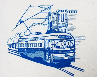 Flour Sack Dish Towel - F-Market Muni Train Design,  Screen Printed in Electric Blue - San Francisco Bay Area Landmark