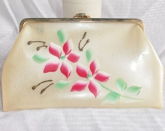 Clearance 1950's Vintage Opaque Hand Painted Clutch Purse with 24K Gold Plated Frame by Harry Levine