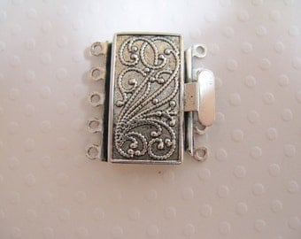 Vintage Look  Silver Plated Brass 23mmx17mm Clasp - 5 strand -  1 Clasp - nickel free, lead free